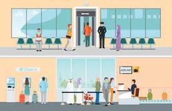 Luchthaven horizontale die banners met registratie worden geplaatst en het inschepen sy royalty-vrije illustratie