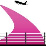 Luchthaven met een vliegtuigvector Royalty-vrije Stock Foto's