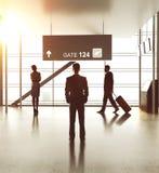 Luchthaven met mensen stock afbeelding