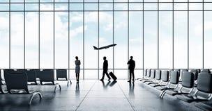 Luchthaven met mensen royalty-vrije stock foto