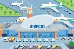 Luchthaven op de buitenkant vector illustratie