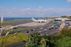 Luchthaven in Ponta Delgada op Sao Miguel, de Azoren royalty-vrije stock foto