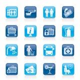 Luchthaven, reis en vervoerspictogrammen Royalty-vrije Stock Afbeeldingen