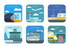 Luchthaven, spoorweg en mariene post, bus of taxi royalty-vrije illustratie