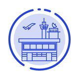 Luchthaven, Vervoer, het Verschepen, Doorgang, Vervoer, de Lijnpictogram van de Vervoers Blauw Gestippelde Lijn royalty-vrije illustratie