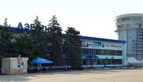 Luchthaven ` Vityazevo ` in toevluchtstad Anapa Stock Foto's