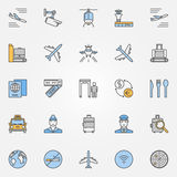 Luchthaven vlakke pictogrammen royalty-vrije illustratie