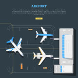 luchthaven Vliegtuigenplaats marking Emplanement royalty-vrije illustratie