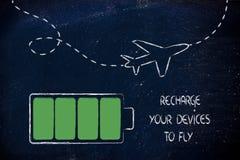 Luchthavenveiligheidsmaatregelen, geladen apparaten Stock Foto