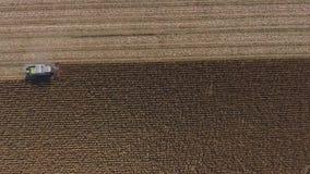 Luchthommelmening over reusachtige landbouwgebieden, vrachtwagen in gewassentijd stock video