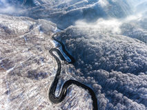 Luchthommelmening van een gebogen windende weg door bos hallo stock fotografie