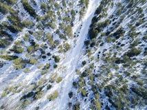 Luchthommelmening van een landschap van de de winterweg Sneeuw behandelde bos en weg vanaf de bovenkant Zonsopgang in aard van ee royalty-vrije stock afbeelding