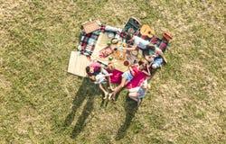 Luchthommelmening van gelukkige families die pret met jonge geitjes hebben bij picknick stock fotografie