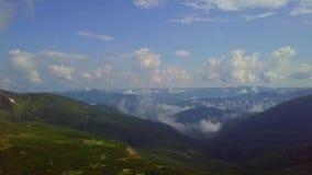 Luchthommelmening: Vlucht over het bos en de landweg van de pijnboomboom in zonsondergang zacht licht Bergketen op Achtergrond stock video