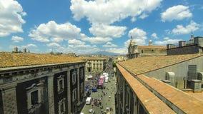 Luchthorizonmening van de oude stad van Catanië, Sicilië, Italië stock footage