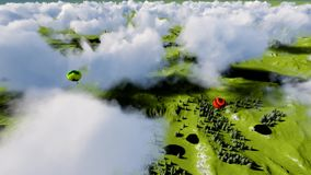 Luchtimpulsen onder bos en bergen stock footage