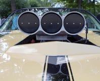 Luchtinham van de sportwagen bij de show van de auto's van inzamelingsretrofest royalty-vrije stock afbeeldingen