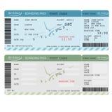 Luchtkaartje met streepjescode, Luchtvaartlijn instapkaart Vector royalty-vrije illustratie