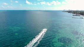 Luchtlengte van één enkele overzees-doo die over de turkooise wateren dichtbij Cancun, Mexico rennen stock footage