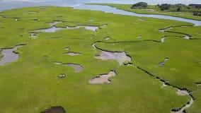 Luchtlengte van Cape Cod-Moerasland stock videobeelden