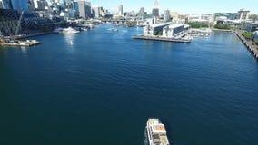 Luchtlengte van Darling Harbour Sydney stock videobeelden
