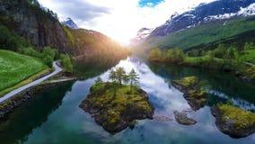 Luchtlengte van mooie aard Noorwegen stock videobeelden