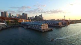 Luchtlengte van Sydney Wharf stock videobeelden