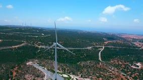 Luchtlengte: Windmolens in Pahos-district, Cyprus stock video