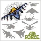Luchtmacht - silhouettenvliegtuigen en helikopters Stock Afbeeldingen