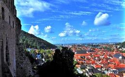 Luchtmening aan Oude Stad van Heidelberg van een Kasteel stock foto