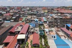Luchtmening aan Phnom Penh Stock Foto's