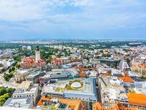 Luchtmening aan stad van Leipzig stock fotografie