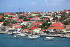 Luchtmening bij Gustavia-Haven in St Baronets Stock Fotografie