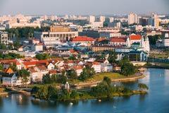 Luchtmening, cityscape van Minsk, Wit-Rusland stock foto's