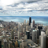 Luchtmening de Van de binnenstad van Chicago van Willis Tower Stock Foto's