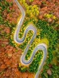 Luchtmening die van curvy weg de herfstbos kruisen Royalty-vrije Stock Afbeeldingen