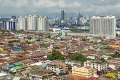 Luchtmening die van Petaling Jaya tot Kuala Lumpur-stadscentrum leiden Stock Afbeelding