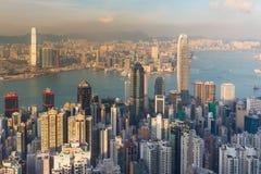 Luchtmening, Hong Kong-stads centrale zaken de stad in Stock Fotografie
