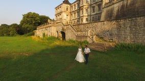 Luchtmening: mooi huwelijkspaar op de achtergrond van het kasteel 4K stock videobeelden