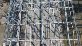 Luchtmening over bouw en wederopbouw van voetbalstadion Wederopbouw van stadion aan gastheergelijken van wereld Stock Afbeelding