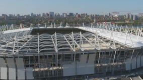 Luchtmening over bouw en wederopbouw van voetbalstadion Wederopbouw van stadion aan gastheergelijken van wereld Royalty-vrije Stock Foto's