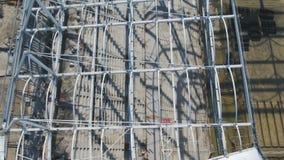 Luchtmening over bouw en wederopbouw van voetbalstadion Wederopbouw van stadion aan gastheergelijken van wereld Stock Afbeeldingen