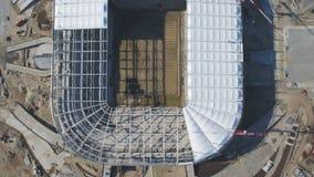 Luchtmening over bouw en wederopbouw van voetbalstadion Wederopbouw van stadion aan gastheergelijken van wereld Stock Foto