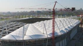 Luchtmening over bouw en wederopbouw van voetbalstadion Wederopbouw van stadion aan gastheergelijken van wereld Stock Fotografie