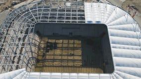 Luchtmening over bouw en wederopbouw van voetbalstadion Wederopbouw van stadion aan gastheergelijken van wereld Royalty-vrije Stock Fotografie