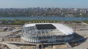 Luchtmening over bouw en wederopbouw van voetbalstadion Wederopbouw van stadion aan gastheergelijken van wereld Royalty-vrije Stock Foto