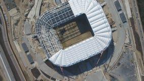 Luchtmening over bouw en wederopbouw van voetbalstadion Wederopbouw van stadion aan gastheergelijken van wereld Royalty-vrije Stock Afbeeldingen
