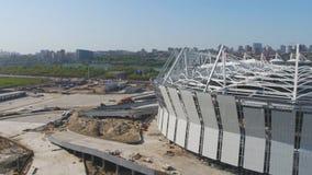 Luchtmening over bouw en wederopbouw van voetbalstadion Wederopbouw van stadion aan gastheergelijken van wereld Stock Foto's