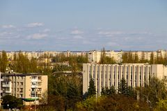 Luchtmening over de stad Kremenchug stock afbeelding