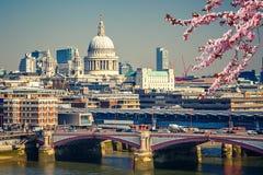 Luchtmening over de stad van Londen Stock Foto